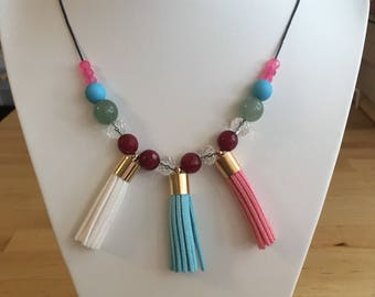 Tassel & Gemstone beaded necklace