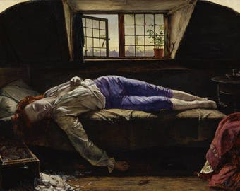 The Death Of Chatterton by Henry Wallis - Poster A3 or A4 Matt, Glossy or Art Canvas Paper