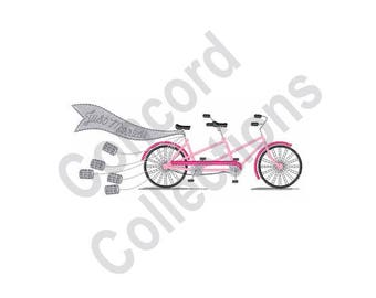 Just Married Bike - Machine Embroidery Design, Tandem Bicycle