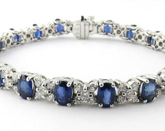 Vintage 18K White Gold Diamond and Sapphire XO Bracelet #2152
