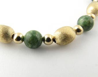 Vintage 14 Karat Yellow Gold and Green Jade Beaded Necklace #3215