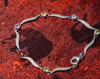 Vintage Silver Bracelet Stamped 925 FAS Italy. With Multiple Colored Stones.