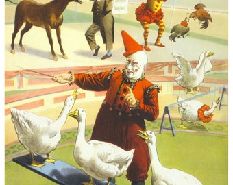 Vintage Barnum and Bailey Circus Advertising Poster Print