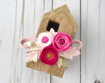 Felt flower Headband // Poppy flower headband // Felt flower crown // Pink, White and Metallic Gold // kikiandbee