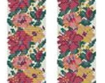 Beading Peyote (Even count)-Loom Pattern Bracelet «Wildflowers» Beading Tutorial Instant Download