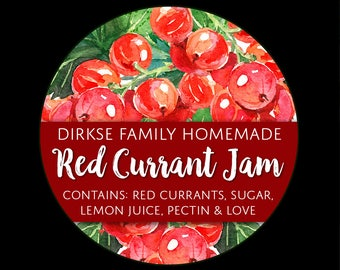 Customized Red Currant Jelly Canning Label - Red Currant Preserves - Watercolor Style Canning Jar Label - Wide Mouth & Regular Mouth