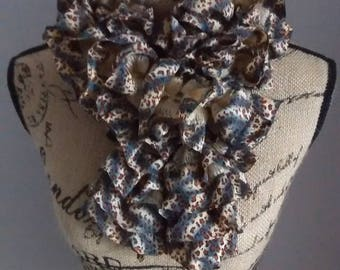 Scarf / scarf beige and Brown spotted Butterfly tutu
