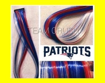 "NFL PATRIOTS 18"" Clip-In Hair Extension Set - 4 PIECES!"