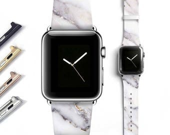 Marble Apple watch band women, Apple watch strap, genuine leather band, grey white 38mm 42mm S054