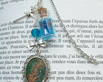 Fairy bookmark, blue jar, Pearl bow