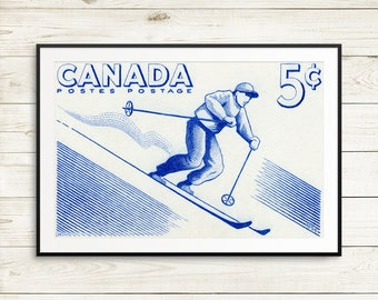 P134 Wall decor: West Coast Contemporary, skiing, skier gift, gift for athlete, winter sports, ski gift, snow sports, Canadian winter sports