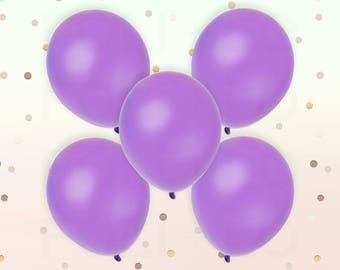 "PASTEL PURPLE BALLOONS | Unicorn Theme Balloons | Rainbow Color Theme Party | 11"" Latex Balloon Set | Set of 5"