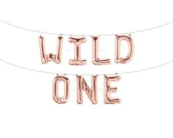 WILD ONE Rose Gold Letter Balloons | Metallic Letter Balloons | Rose Gold Party Decorations | First Birthday Balloon | First Birthday Banner