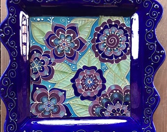 Slip Trailed Handmade Pottery Serving Platter with Henna Inspired Floral Designs