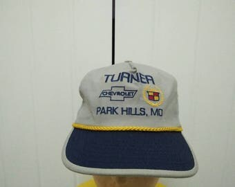 Rare Vintage CHEVROLET Turner Park Hills , MO Embroidered Cap Hat Free size fit all