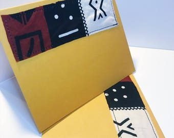 African Print Greeting Card // Mudcloth Blank Card // Handmade Fabric Greeting Card // With Envelope