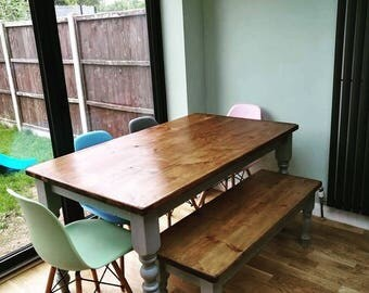 CURVY - Farmhouse Dining Table with Bench