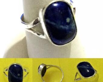 Solid 925 Sterling Silver Ring 100% Original Lapis Lazuli Stone