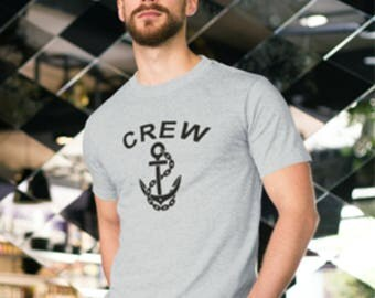 Crew & anchor print t-shirt,Ships Anchor print,Ships Crew t-shirt,Sailor print t-shirt, Boating print t-shirt,Boat crew print. Crew anchor.