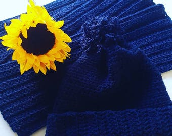 Navy blue hat and scarf set