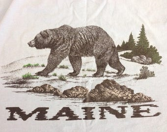 Vintage 1994 MAINE Black bear wilderness maine trees bears outdoors fishing maine tee tahirt size XL