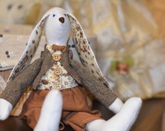 Rabbit Bunny Gift Hare Tilda Stuffed Animal Toy Present for Boy
