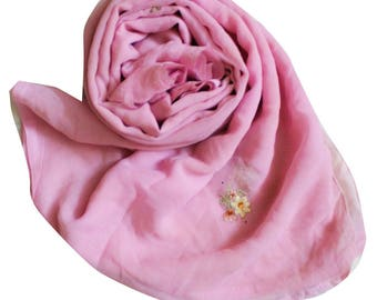 Vintage Fabric Dupatta Indian Pink Home Decor Long Stole Georgette Craft Fabric Floral Patches Sewing Hiab Veil Decorative Fabric Scarves