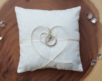 Floral Wedding Ring Pillow~Ring Bearer Cushion~Ring Pillow Holder~Ivory and White Wedding Decor~Gold Wedding Decoration~Wedding Ring Cushion