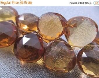 ON SALE 15% OFF Golden Brown Beer Quartz Faceted Briolette Beads 4pcs
