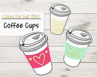 Foiled Coffee Cups Die Cut Pack | Gold Foil