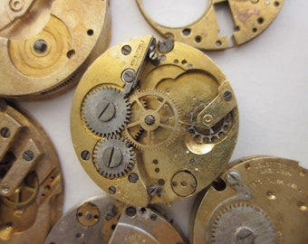 6 Vintage Mechanical Watches, Mixed Lot Gold-toned Brass, 24mm to 32mm Round