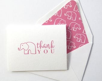 Children's Thank You Cards - Pink Elephant Thank You Card - Pink Elephant Stationery