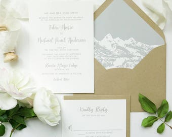 Mountain Wedding Invitation Suite - Rustic Wedding in the Mountains - Sage Green, Kraft and Natural White