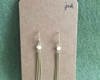 Freshwater pearl and gold chain earrings