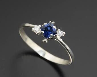 Sapphire ring, Promise ring, Diamond promise ring, Art deco ring, Princess cut ring, Blue sapphire ring, Sapphire diamond ring, Dainty ring