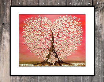Cherry Blossom Trees Heart PRINT from Original oil impasto painting small medium limited edt signed not framed