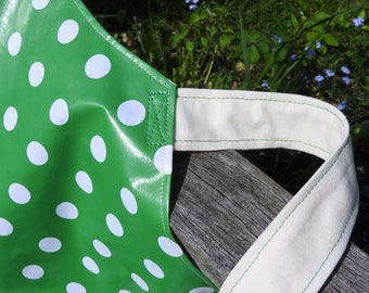 Plastic PVC Kids Personalised Apron White polka dots on green Wipe Down PVC with elasticated neck strap Adult Aprons & Child's Aprons.