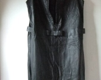 Black leather shift/wiggle 1960s dress sz 16