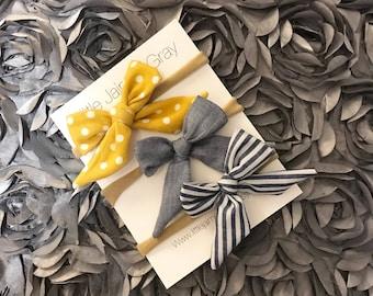 Bows, baby girl, polka dots, stripes, nylon band, hair clip
