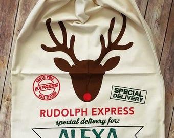 Personalized Santa Sack. Santa Sack. Christmas Sack. Christmas Gift Bag. Christmas Toy Sack. Christmas Present Bag. Canvas Santa Sack.