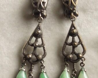 Beautiful Long Dangly Peking Glass Earrings