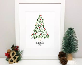Customized Merry Christmas Handlettered Print