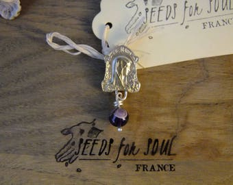 Handmade French Holy Virgin Mary art nouveau pendant in sterling silver with amethyst