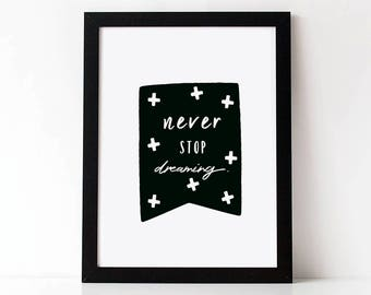 NEVER STOP DREAMING Print.