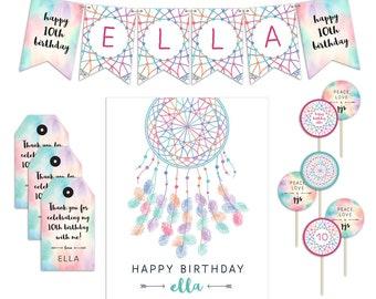 Slumber Party Decorations, Slumber Party Favors, Sleepover Party Favors, Sleepover Favors, Slumber Party Banner, Dream Catcher Printables