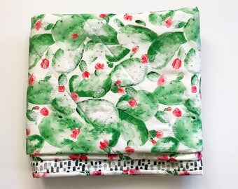 Prickly Pear Quilt, Cactus Baby Quilt, Modern Wholecloth Quilt, Baby Quilt For Sale, Floral Baby Quilt, Cactus Crib Bedding, Cactus Nursery