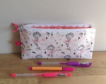 Kit school in fabrics, dancer - pink and white