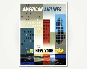New York Travel Poster Print - Mid Century Modern  Poster Art - American Airlines New York City