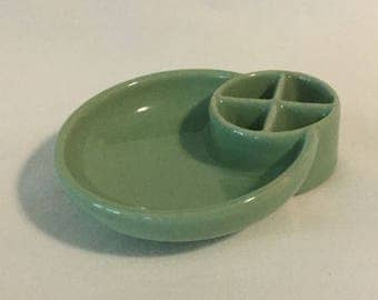Antique Green Snuffed-A-Rette Four Cell Ceramic Ashtray