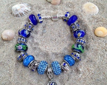 Blue charm's adult size bracelet